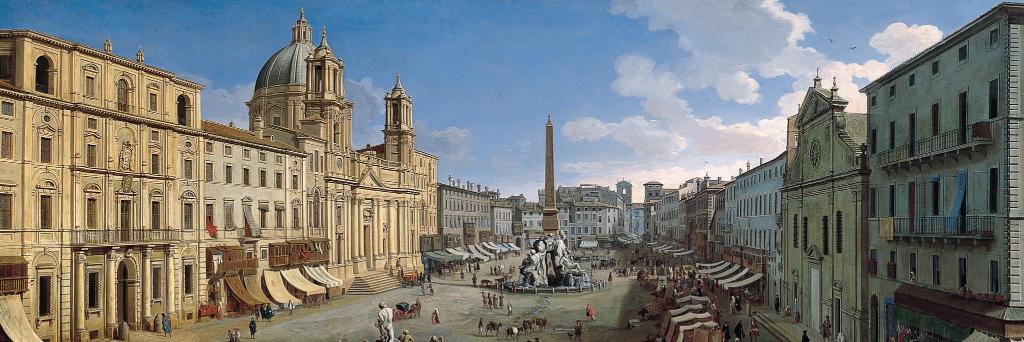 Piazza Navona in un dipinto di Gaspar Van Wittel (particolare). Palazzo de' Cuppis è visibile in fondo sulla sinistra.