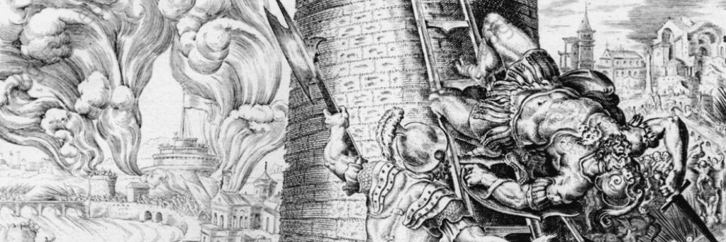 Il ferimento a morte di Carlo III di Borbone, generale delle truppe imperiali durante il Sacco di Roma del 1527.