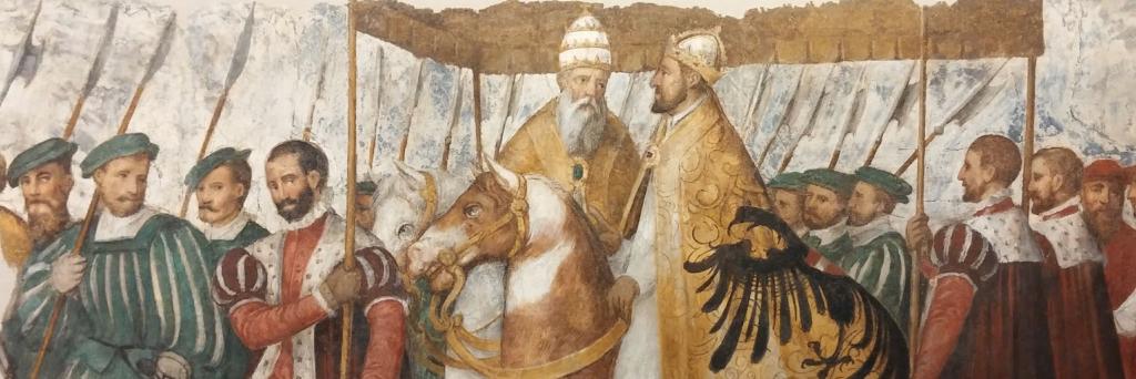 Cavalcata dell'imperatore Carlo V a fianco di papa Clemente VII a Bologna in occasione della cerimonia di incoronazione del 1530. Particolare del ciclo di affreschi di Ermanno e Jascopo Ligozzi staccato da Casa Fumanelli in Santa Maria in Organo a Verona.