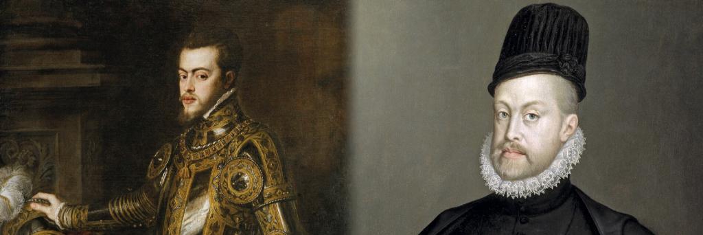 Ritratti di re Felipe II d'Asburgo, figlio di Carlo V e fratellastro minore di Thadea.